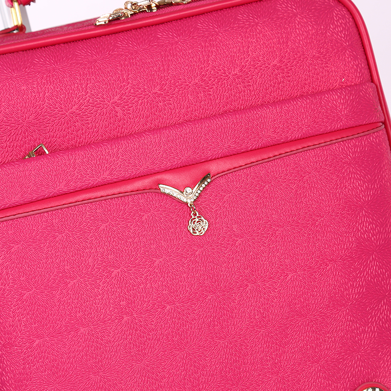 Women girl pink PU travel luggage5