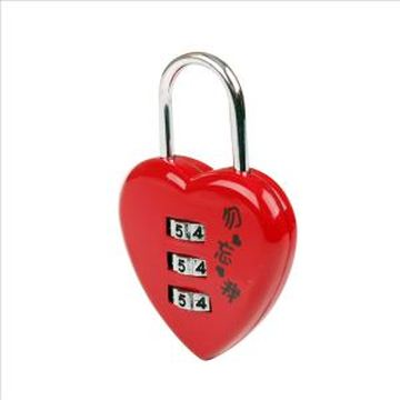 Red Heart-shaped combination lock