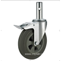 80mm threaded stem   European industrial rubber  swivel caster with   brake