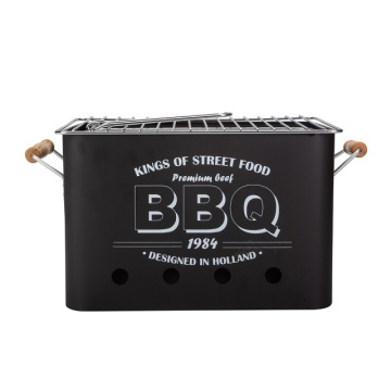 Black Retangular BBQ Grill With Wood Handle
