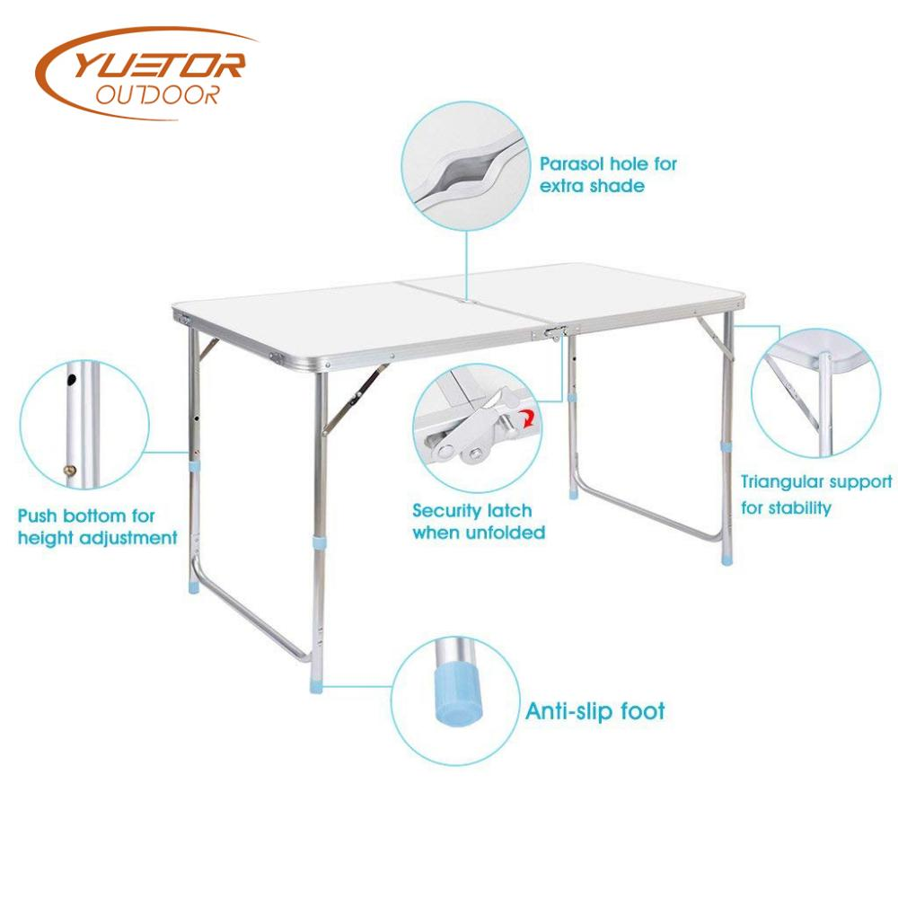 Portable And Adjustable White Aluminum Folding Event Table With 4 Foot 4
