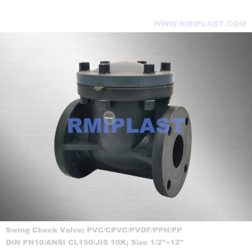 Swing Check Valve PPH Flange End DIN PN10