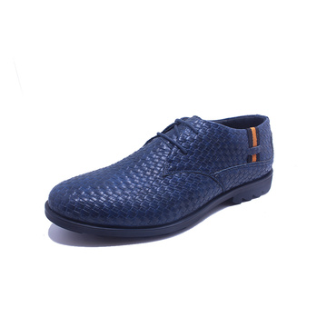 Blue Lace up Textured Woven Men's Shoes