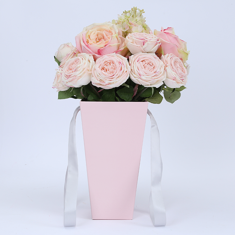 Ivory Board Portable Round Flower Box With Handle