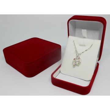 Red velvet gift box with inserts for necklace
