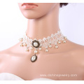 Fashion Lace Pearl Necklace Handmade Bridal Choker Necklaces