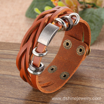 Handmade Leather Wrap Bracelet For Men With Metal Charms