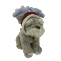 Plush Dog With Christmas Hat Gray