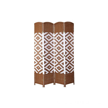 Handmade Weave Fiber brown White Diamond 4 Panel Room Divider