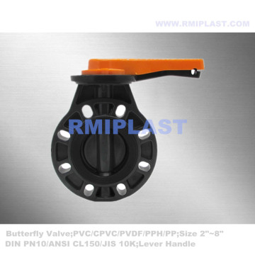 Wafer Type Butterfly Valve PVC Body EPDM Seat