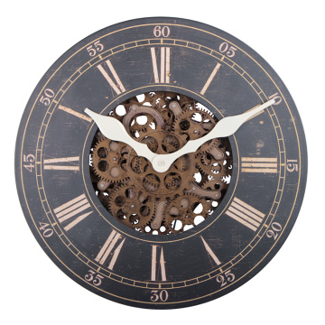 Large wooden wall clock for home decoration