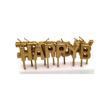 Paraffin Wax Gold Metallic Letter cake Candle