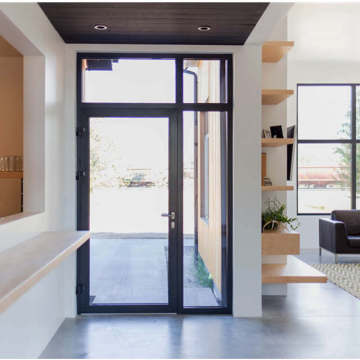 Lingyin Construction Materials Ltd aluminium Casement door with fixed  glass windows