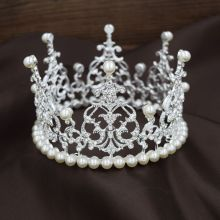 Fashion Full Round Pearl Pageant Crowns