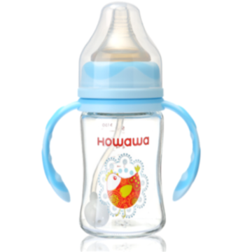Infant Feeding Glass Bottle With Handle 10oz