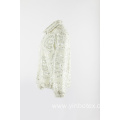 white fake fur jacket with elastic cuff