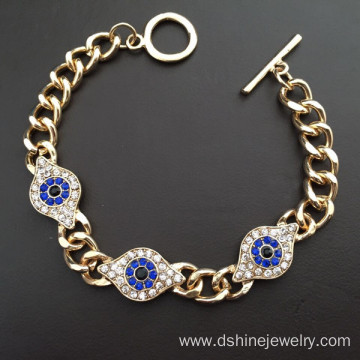 Metal Bangles Gold Evil Eye Chain Bracelet For Women Men