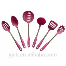 6pcs Pink Nylon Kitchen Utensil with Pink Handle