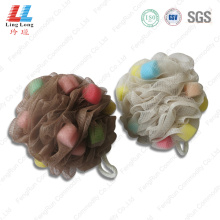 Brown sponge mesh bath ball