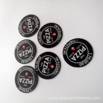 Weatherproof black circle shaped  print magnet sticker
