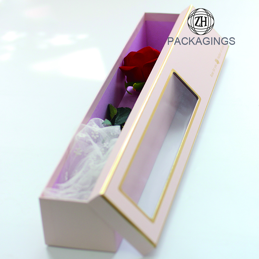 Transparent window single flower box with lid