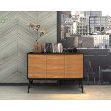 Black Solid Wood Frame Dining Side Cabinet