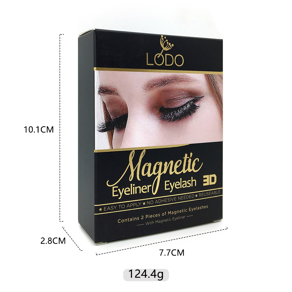 Two pairs mink magnetic eyelashes in plastic box with eyeliner and tweezer
