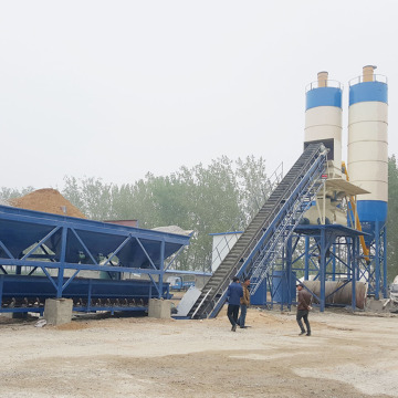 High quality HZS90 belt conveyor concrete batching plant