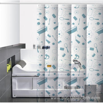 B&q Round Waterproof Bathroom printed Shower Curtain