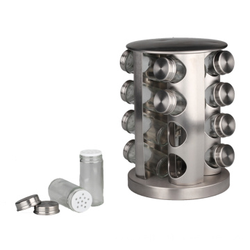 Spice Rack with 16 Glass Jar Bottles