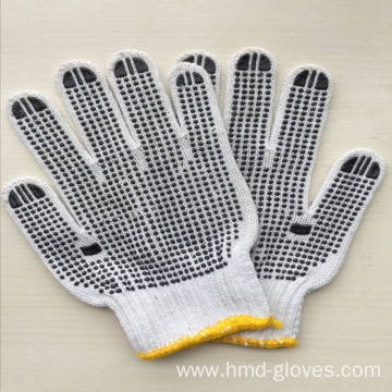 pvc knitted gloves /string dot knitted gloves