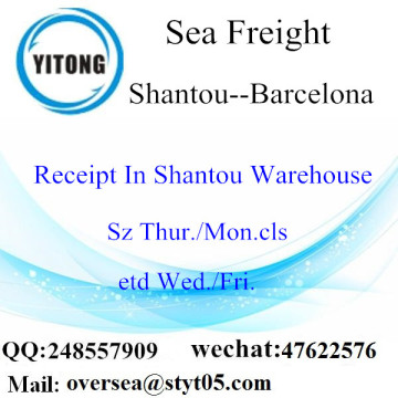Shantou Port LCL Consolidation To Barcelona