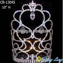 10 Inch Rhinestone Crystal Heart Crown Tiara