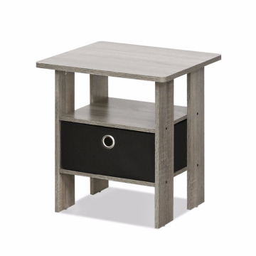 Factory Free sample for Bedside Cabinets French Oak Grey black Small Bedside Table Bedroom Night Stand with Bin Drawer export to Palestine Wholesale