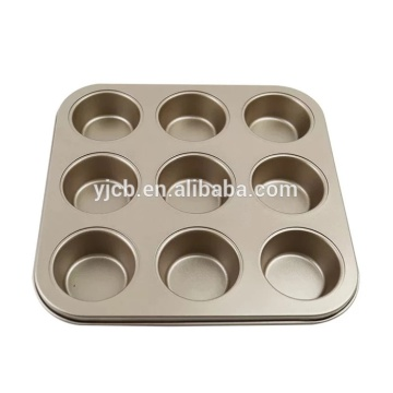 Good Quality for Muffin Pan,Silicone Muffin Pan,Muffin Baking Tray Manufacturer in China Quality 9 Cups Muffin Cup Golden Cake Mould supply to South Korea Wholesale