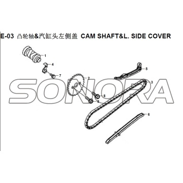 E-03 CAM SHAFT&L. SIDE COVER XS150T-8 CROX For SYM Spare Part Top Quality
