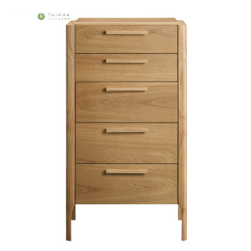 Nordic Solid Wood Light Walnut 5 Drawer Chest