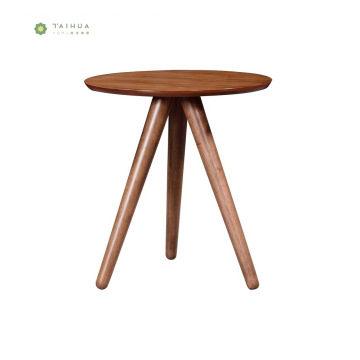 Round Dark Walnut Living Room End Table