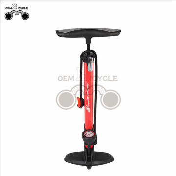High-pressure bicycle floor pump with gauge