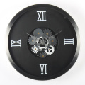 Black Wall Clock with Moving Gears