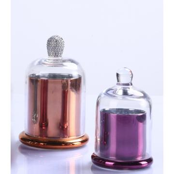 Colorful Decorative Domed Glass Candle Cloche Jar