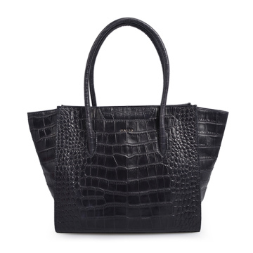 Crocodile Alligator Leather Retro Style Handbag Black