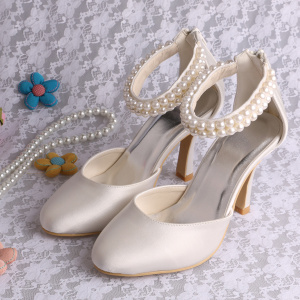Good User Reputation for Women Satin Shoes Classic Pearl Wedding Shoes High Heel supply to Portugal Wholesale