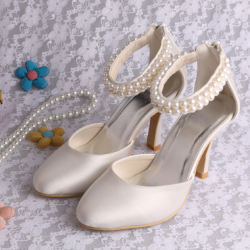 Classic Pearl Wedding Shoes High Heel