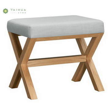 Light Walnut Solid Wood Dressing Stool with Cushion