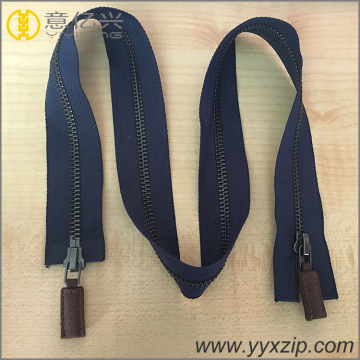 Double sliders open-end metal zippers for leather puller