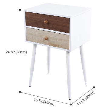 Nightstand Bedroom Living Room Table Cabinet with 2 Drawers