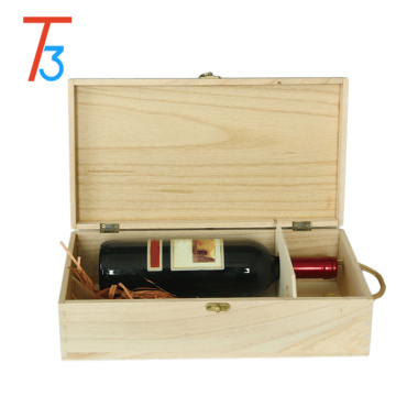 Pine wooden packaging metal clasp wine crate storage box