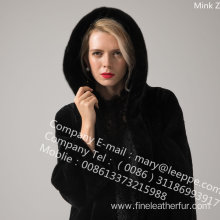 Winter Hooded Kopenhagen Mink Fur Coat Women
