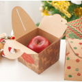 Kraft Paper Christmas Apple Gift Box with Handles